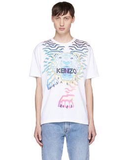 White Limited Edition 'rainbow' Tiger T-shirt