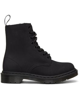 Black Fur-lined Mono 1460 Boots
