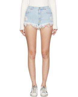 Blue Denim Fringed Shorts