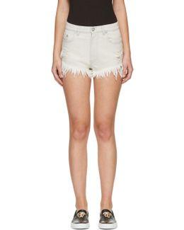 Grey Denim Fringed Shorts