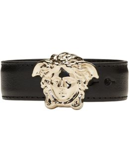 Black & Gold Leather Medusa Bracelet