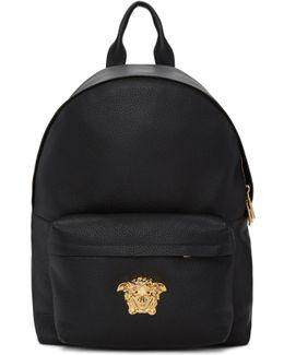 Black Leather Medusa Backpack