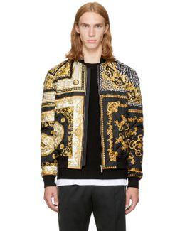 Black & Gold Medusa Bomber Jacket