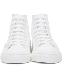 White Beaded Canvas High-top Sneakers