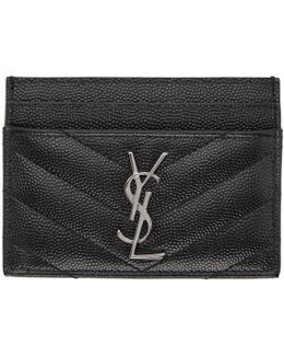 Black Quilted Monogram Card Holder