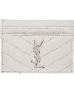 White Quilted Monogram Card Holder