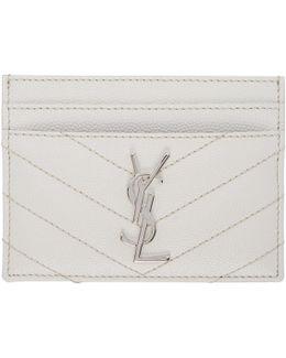 White Quilted Monogram Card Holder