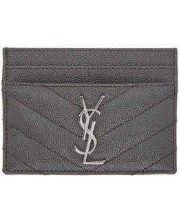 Grey Quilted Monogram Card Holder