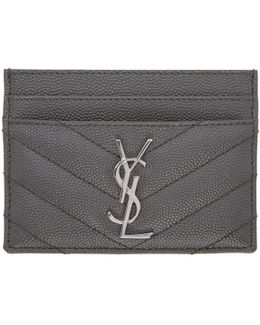 Grey Quilted Monogram Card Holder