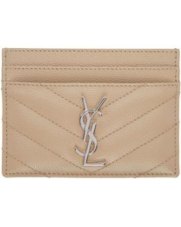 Beige Quilted Monogram Card Holder