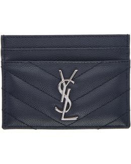 Navy Quilted Monogram Card Holder