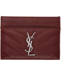 Burgundy Quilted Monogram Card Holder