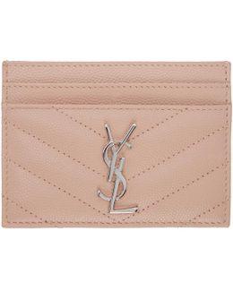 Pink Quilted Monogram Card Holder