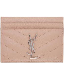 Pink Quilted Monogram Card Holder