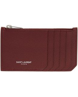 Burgundy 5 Fragments Zip Card Holder
