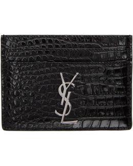 Black Croc Monogram Card Holder
