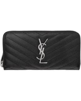 Black Quilted Monogram Zip Around Wallet