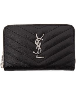 Black Small Monogram Zip Around Wallet