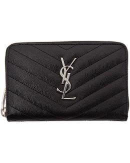 Black Small Monogram Zip Around Wallet