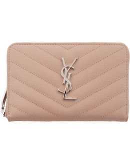 Pink Small Monogram Zip Around Wallet