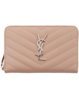 Pink Small Monogram Zip Around Wallet