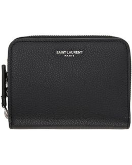 Black Rive Gauche Compact Zip Around Wallet