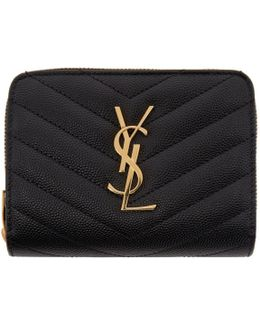 Black Monogram Compact Zip Around Wallet