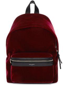 Burgundy Velvet Mini City Backpack