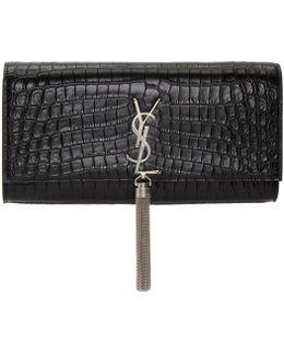 Black Croc Monogram Kate Tassel Clutch