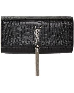 Black Croc Monogram Kate Tassel Clutch