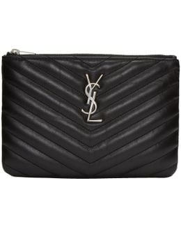 Black Quilted Monogram Bag Pouch