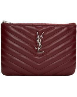 Burgundy Quilted Monogram Bag Pouch