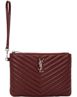 Burgundy Quilted Monogram Pouch