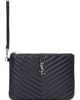Navy Quilted Monogram Pouch