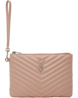 Pink Quilted Monogram Pouch