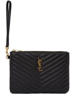 Black Quilted Monogram Pouch