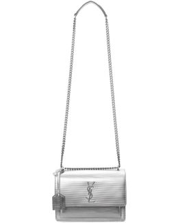 Silver Medium Monogram Sunset Chain Satchel