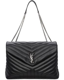 Black Large Loulou Chain Bag