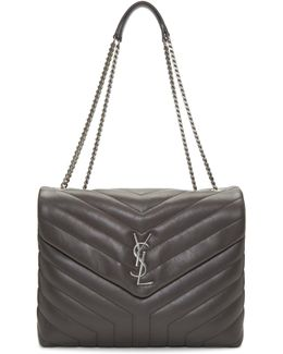 Grey Medium Loulou Chain Bag
