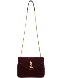 Burgundy Velvet Small Loulou Chain Bag