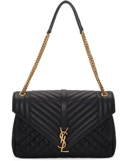 Black Large Soft Envelope Monogram Bag