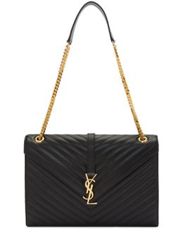 Black Large Monogram Envelope Chain Bag