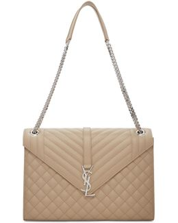 Beige Large Monogram Envelope Chain Bag