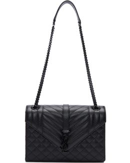 Black Medium Envelope Chain Bag