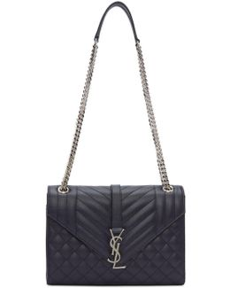 Navy Medium Envelope Monogram Bag
