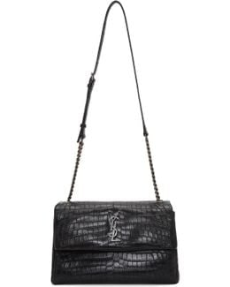Black Croc Medium West Hollywood Bag