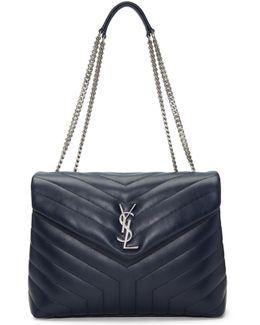 Navy Medium Loulou Chain Bag