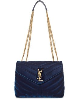 Navy Small Velvet Loulou Chain Bag