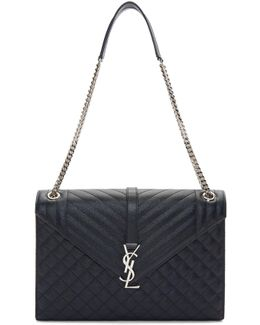 Navy Large Monogram Envelope Chain Bag