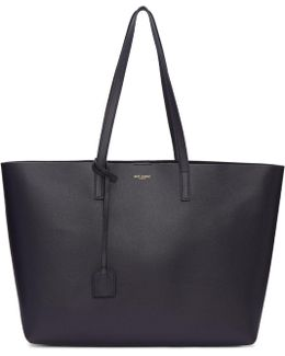 Navy Large East/west Shopping Tote